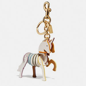 Coach Small Unicorn Bag Charm Chalk/Gold